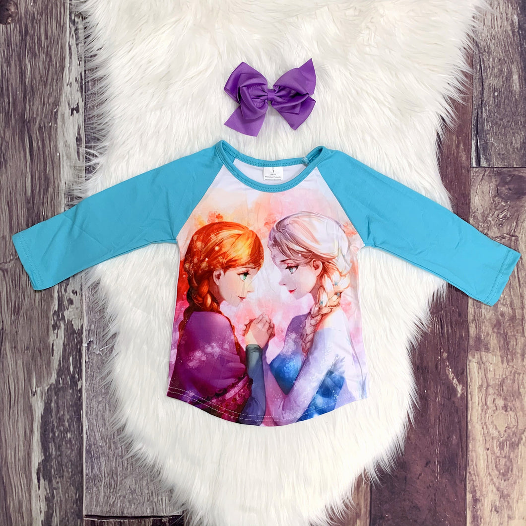 Frozen Anna & Elsa Long Sleeve Raglan