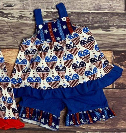 4th Of July Hearts Tunic Set