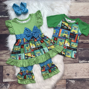 Pete The Cat Tee &  Dress Set - Ivory Blossom