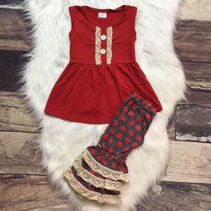 Red Lace Apple Print Set