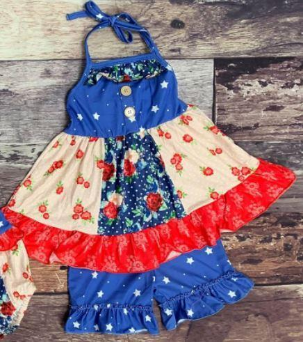 Red White and Blue Floral Tunic Set - Ivory Blossom