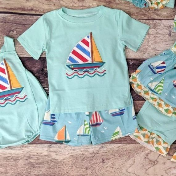 Embroidered Sailboat Mint Boys Set
