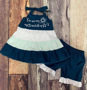 Sun Moon & Stars Halter Tunic and Short Set