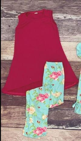 Teal Floral Tween Tunic and Legging Set