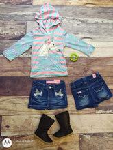 Load image into Gallery viewer, Unicorn Girl Denim Embroidered Shorts