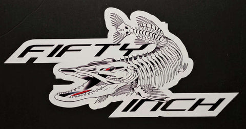 50 Inch Musky Skeleton Decal in White
