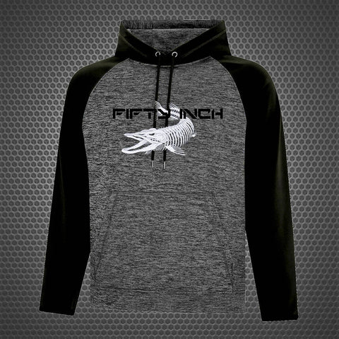 50 Inch Two Tone Performance Musky Hoodie - Black/Heather Grey