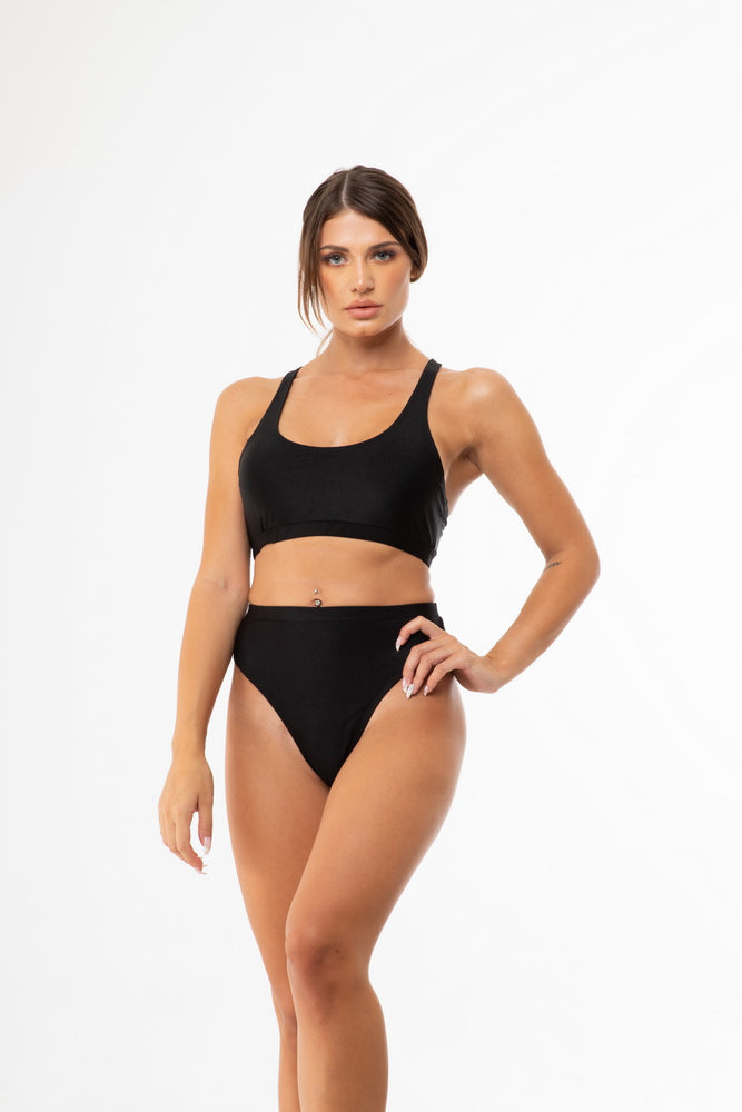 Black High Cut Sporty bikini Set