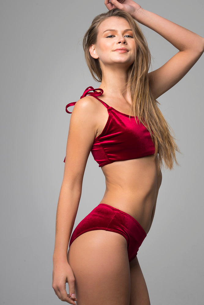 Red Sporty Velvet Bikini Set