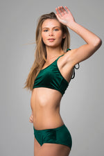 Green Emerald Velvet Bikini Set