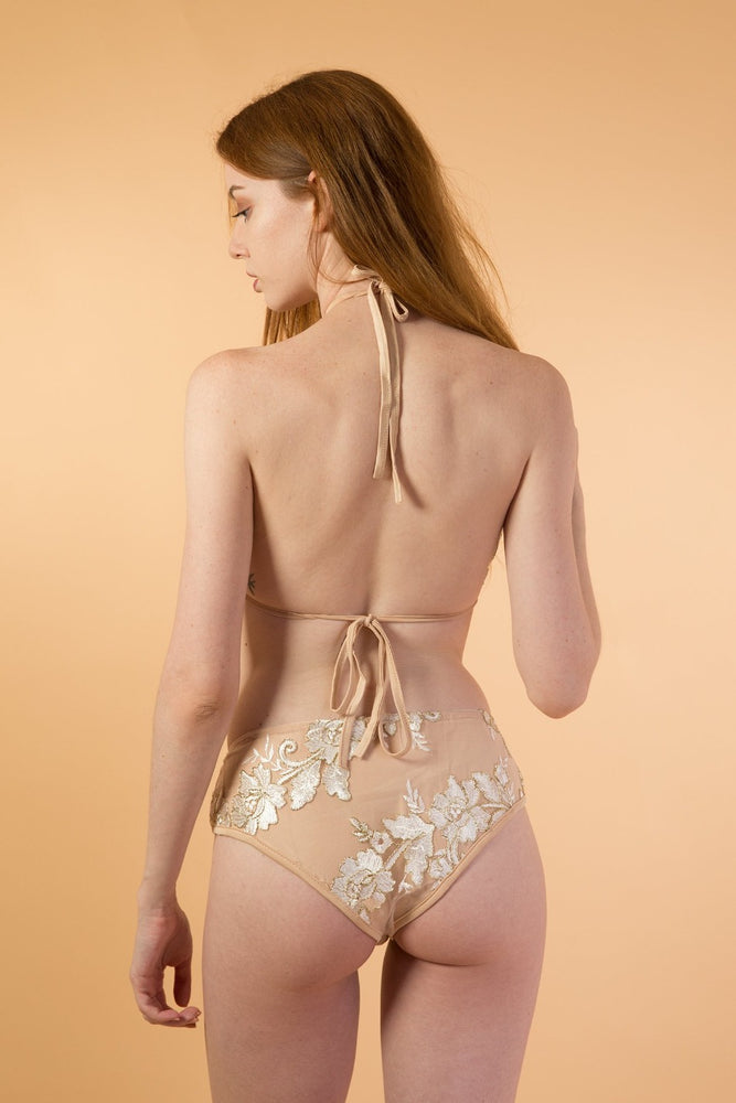 Beige Embroidered lingerie Set