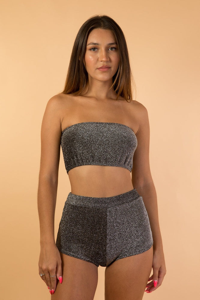 Grey Shiny Strapless Women Set