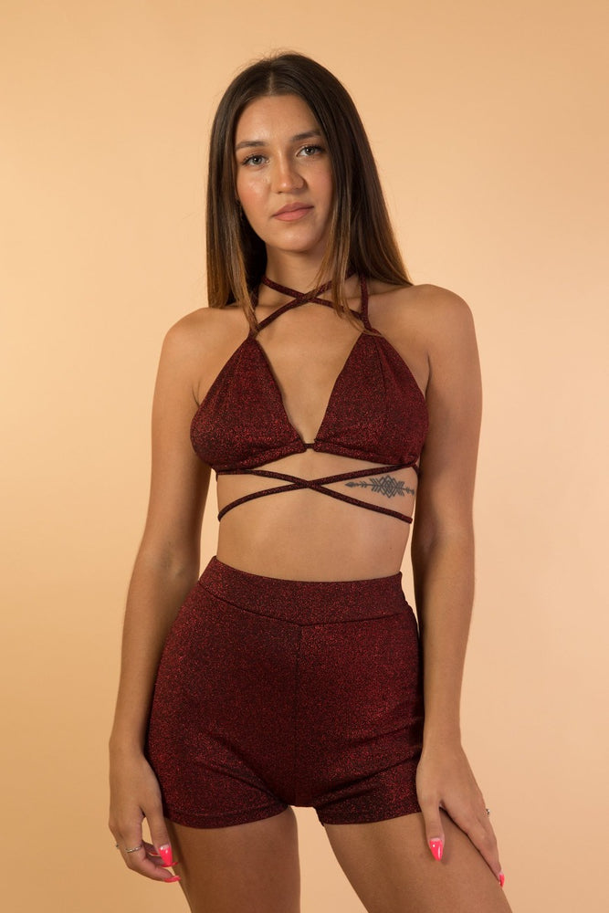 Wine Red Shiny Two Piece  Set