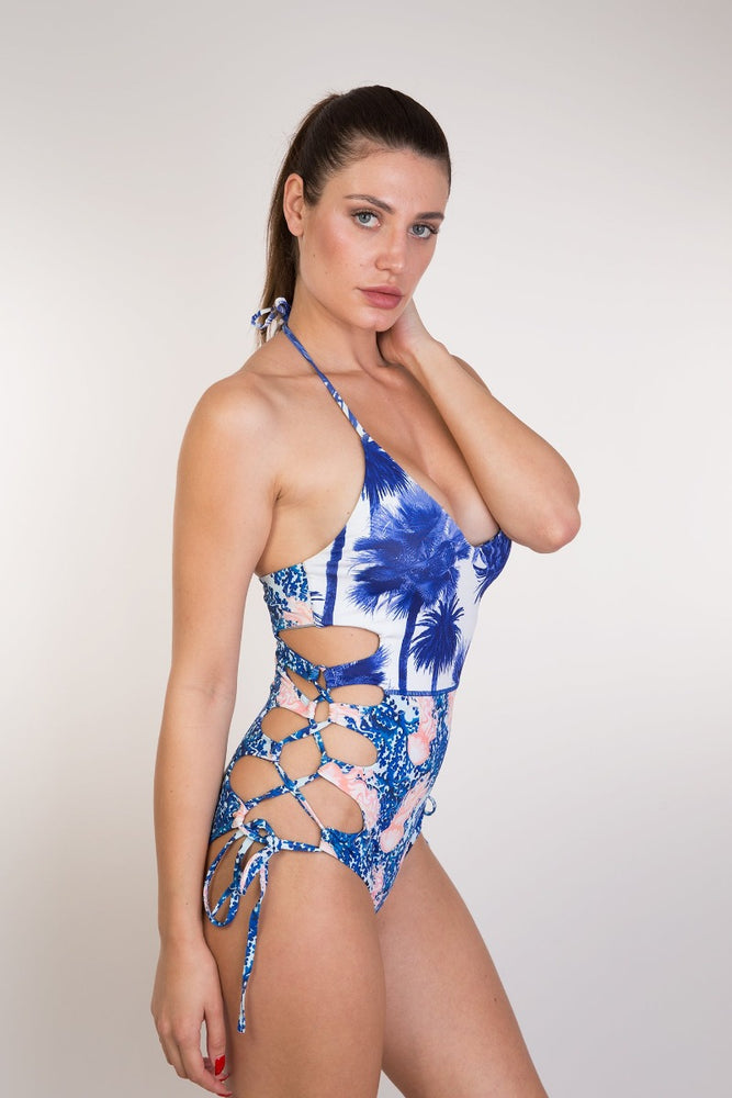 Blue Printed Floral One Piece