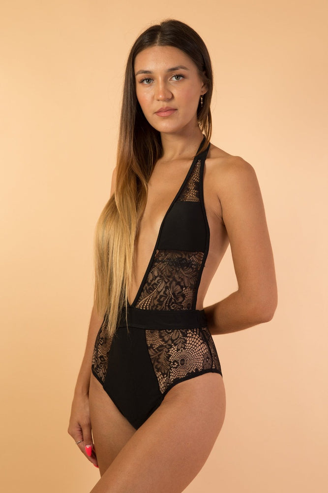 Black Deep V Mesh Lace One Piece
