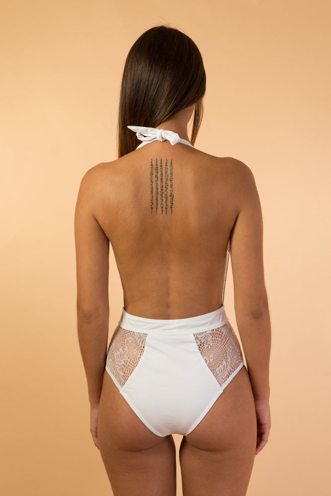 White Deep V Mesh Lace One Piece