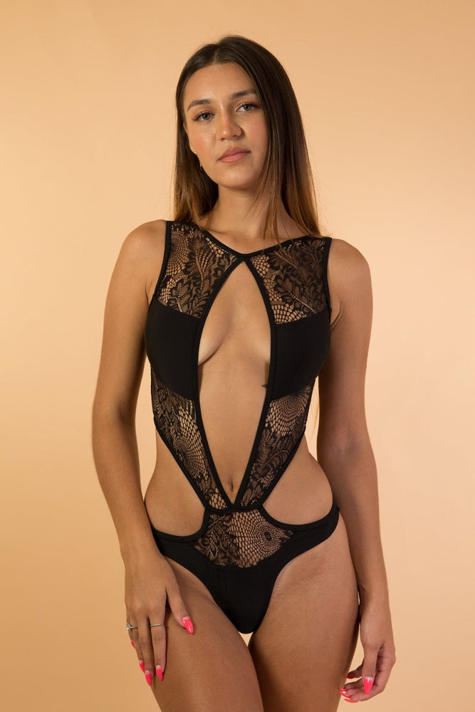 Black Mesh Lace Cut Out lingerie bodysuit