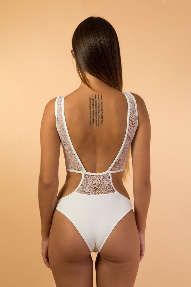 White Mesh Lace Cut Out lingerie bodysuit