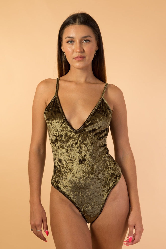 Green Velvet Deep V Bodysuit