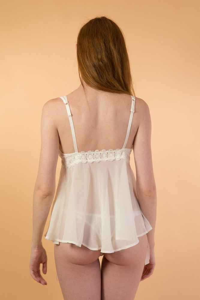 White Chiffon Nightgown and Lace String Lingerie Set