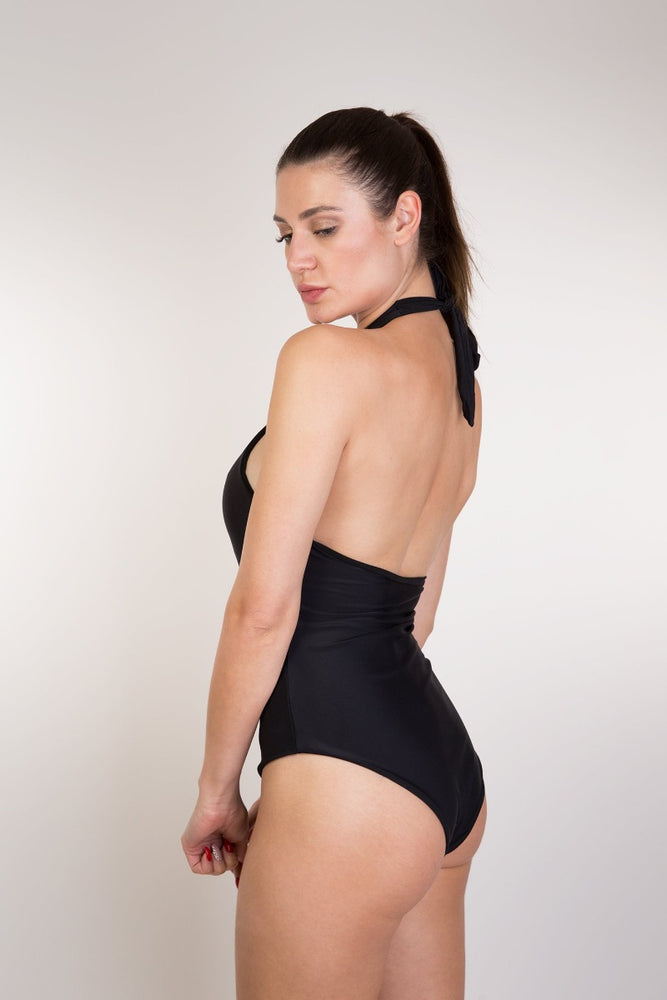 Black Luxury High Neck One Piece