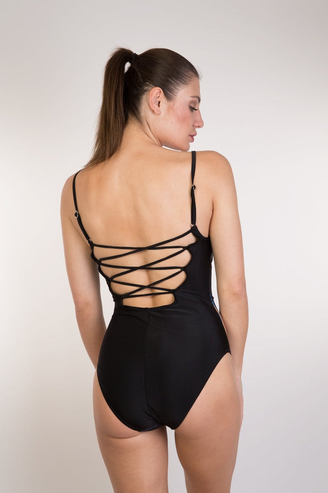 Black Tribal Print Back Detail One Piece