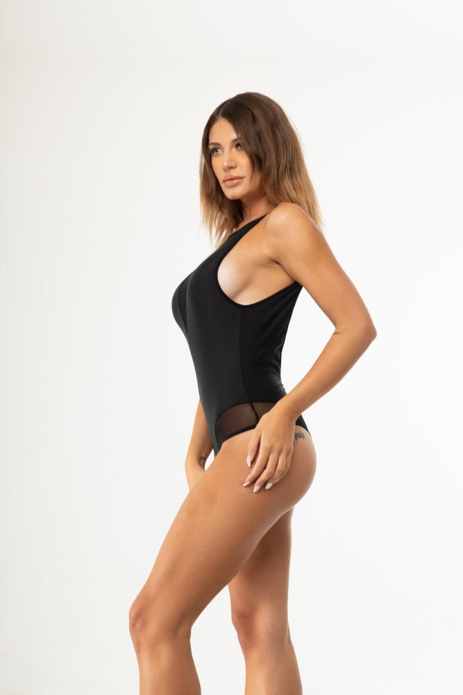 Black Mesh Backless One Piece