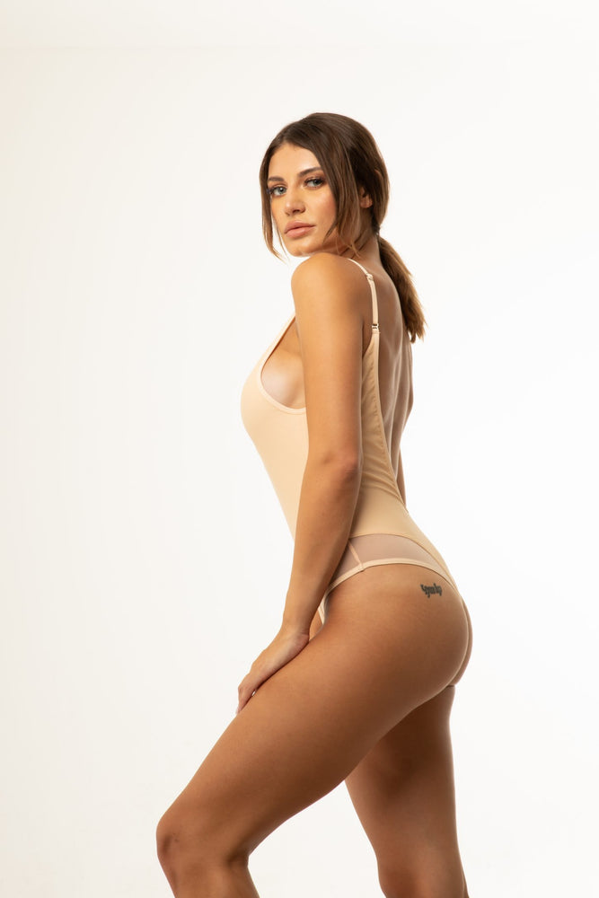 Beige Mesh Backless One Piece