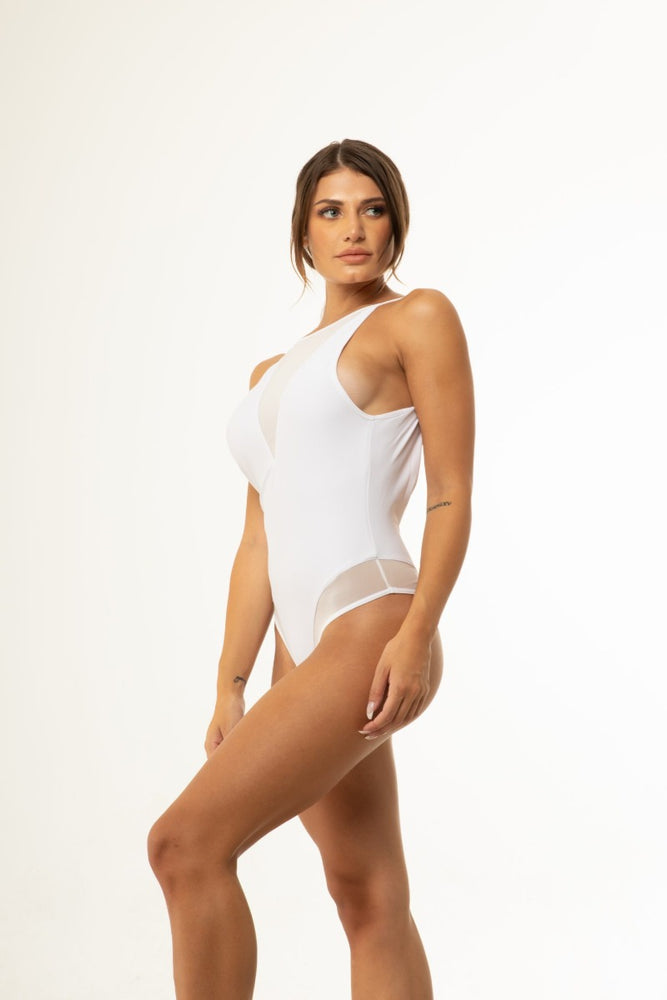 White Mesh Backless One Piece