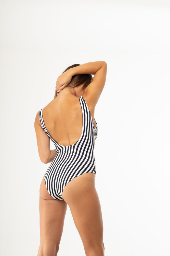 Black White Striped One Piece