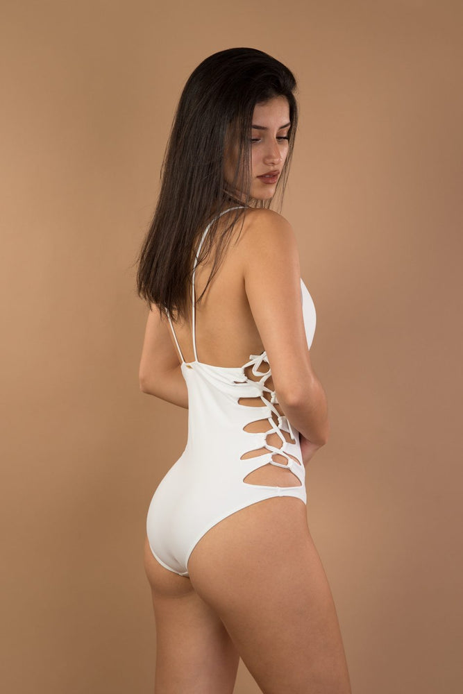 White Side Lace Up Detail One Piece