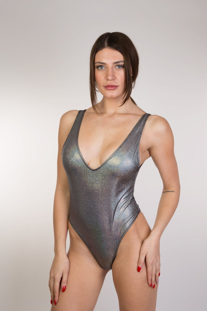 Grey Shiny Glitter Backless One Piece