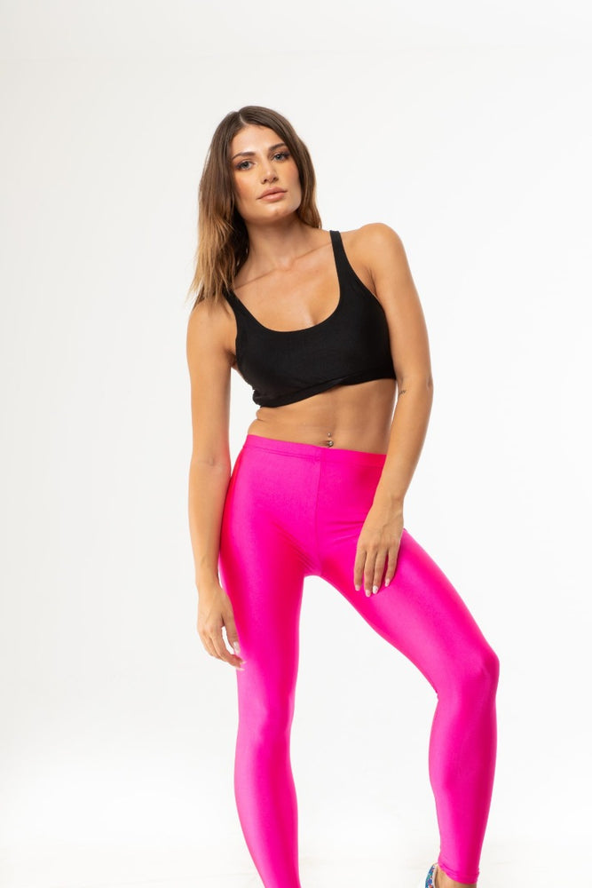 Pink Neon Shiny Long Leggings