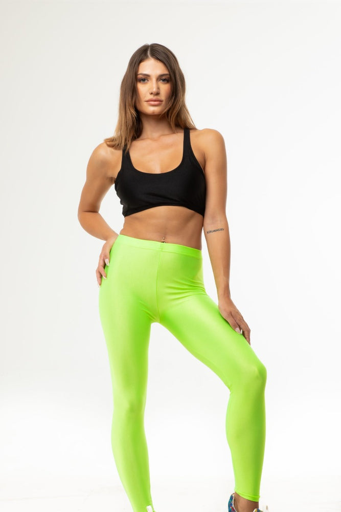 Green Neon Shiny Long Leggings