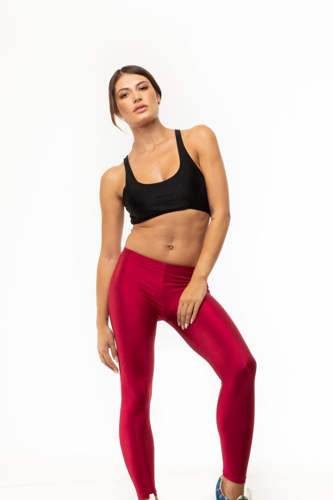 Wine Red Shiny Long Leggings