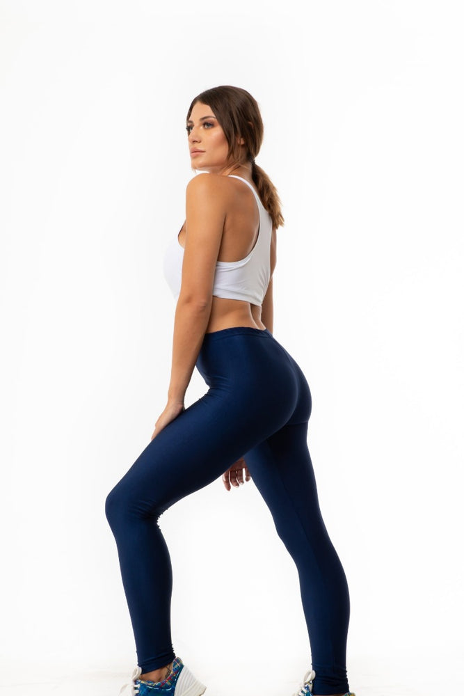 Blue Dark Shiny Long Leggings