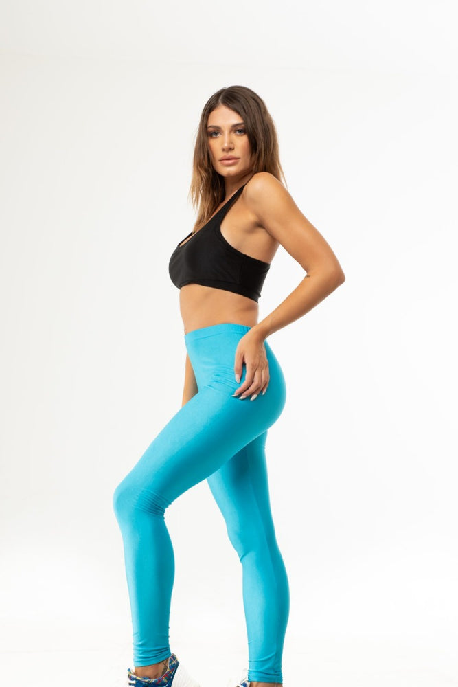 Blue Neon Shiny Long Leggings