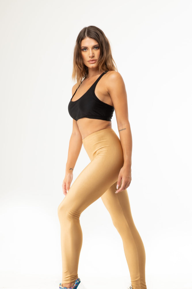 Beige Gold Shiny Long Leggings
