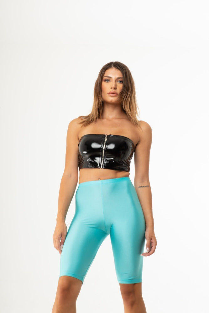 Blue Neon Shiny Biker Shorts