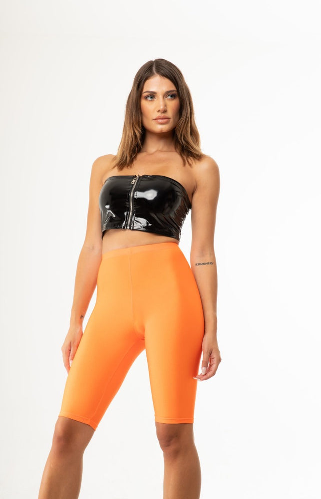 Orange Neon Shiny Biker Shorts