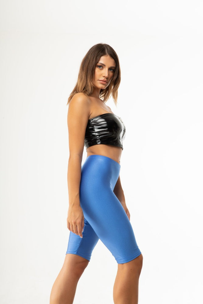 Blue Shiny Biker Shorts
