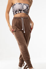 Brown High Waist Street wear Pants