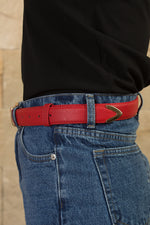 Red retro with gold buckle belt