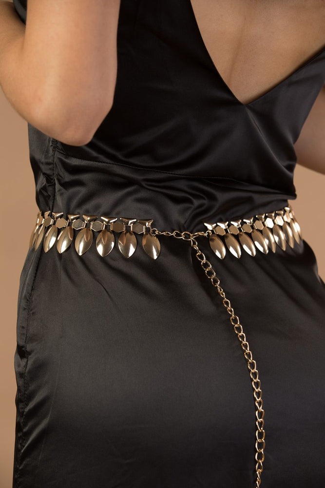 Gold Metal Leaves Waist Chain Belt
