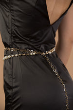 Gold double pearl waist chain belt