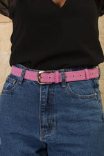 Pink with gold buckle wide suede belt