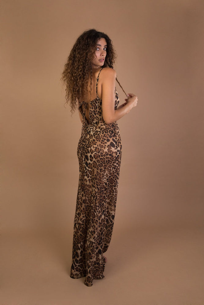 Leopard chiffon backless beach dress