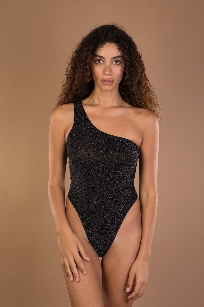 Grey glitter one shoulder bodysuit