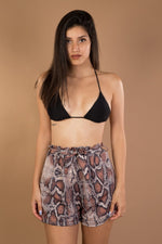 Beige Snake Print High Waist shorts