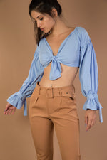 Blue V neck tie up long sleeve top